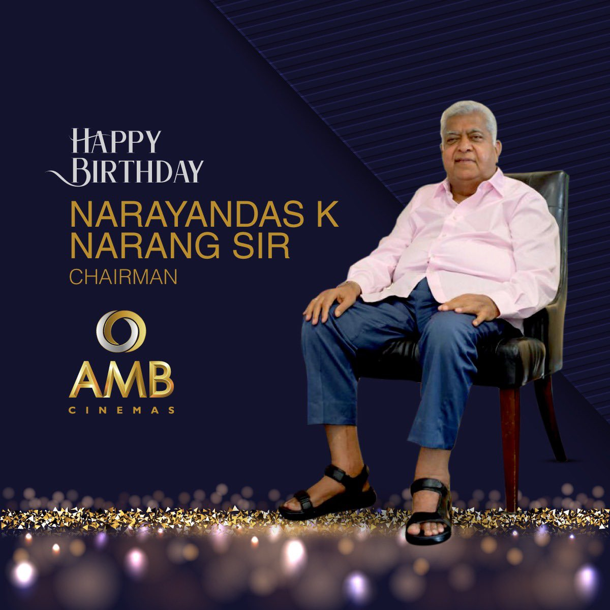 AMB Cinemas wishes our Chairman, Mr. Narayandas K. Narang sir a very Happy Birthday! Thank you sir for bringing world-class movie experience to everyone! 😃 #AMBCinemas #Chairman #NarayandasKNarangsir #HappyBirthday #WorldClass #MovieExperience #MovieMagic #ShowbizzToSuperhits