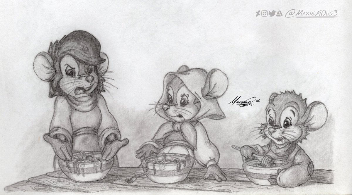 """In April 2018, I drew my take on the """"Somebody Toucha My Spaghet"""" #meme with some familiar mice, but I didn't show it publicly because the meme already died out.  #fanart #traditionalart #handdrawn #sketch #AnAmericanTail #Fievel #Tanya #Tony #DonBluth #ArtistOnTwitter https://t.co/tiGIkoktEK"""