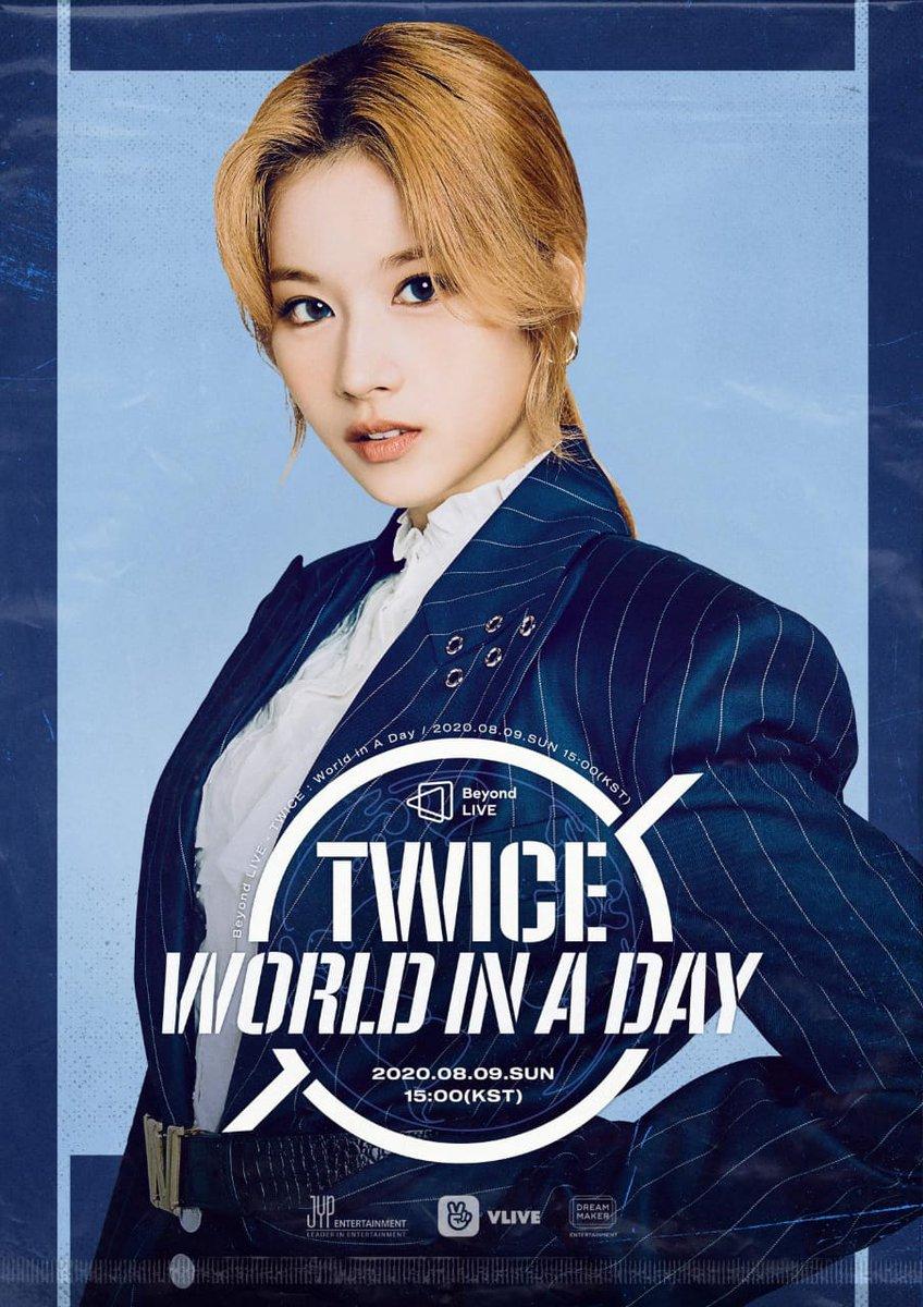 #Imagen[25.07.20]😍 TWICE ONLINE CONCERT Beyond LIVE – TWICE: World in A Day .  Poster SANA . . Cr. JYPETWICE . .  #TWICE #트와이스 #TWICE_Beyond_LIVE #WorldinADay #Online_Concert @Twice_PY https://t.co/hmHNE7I4u3