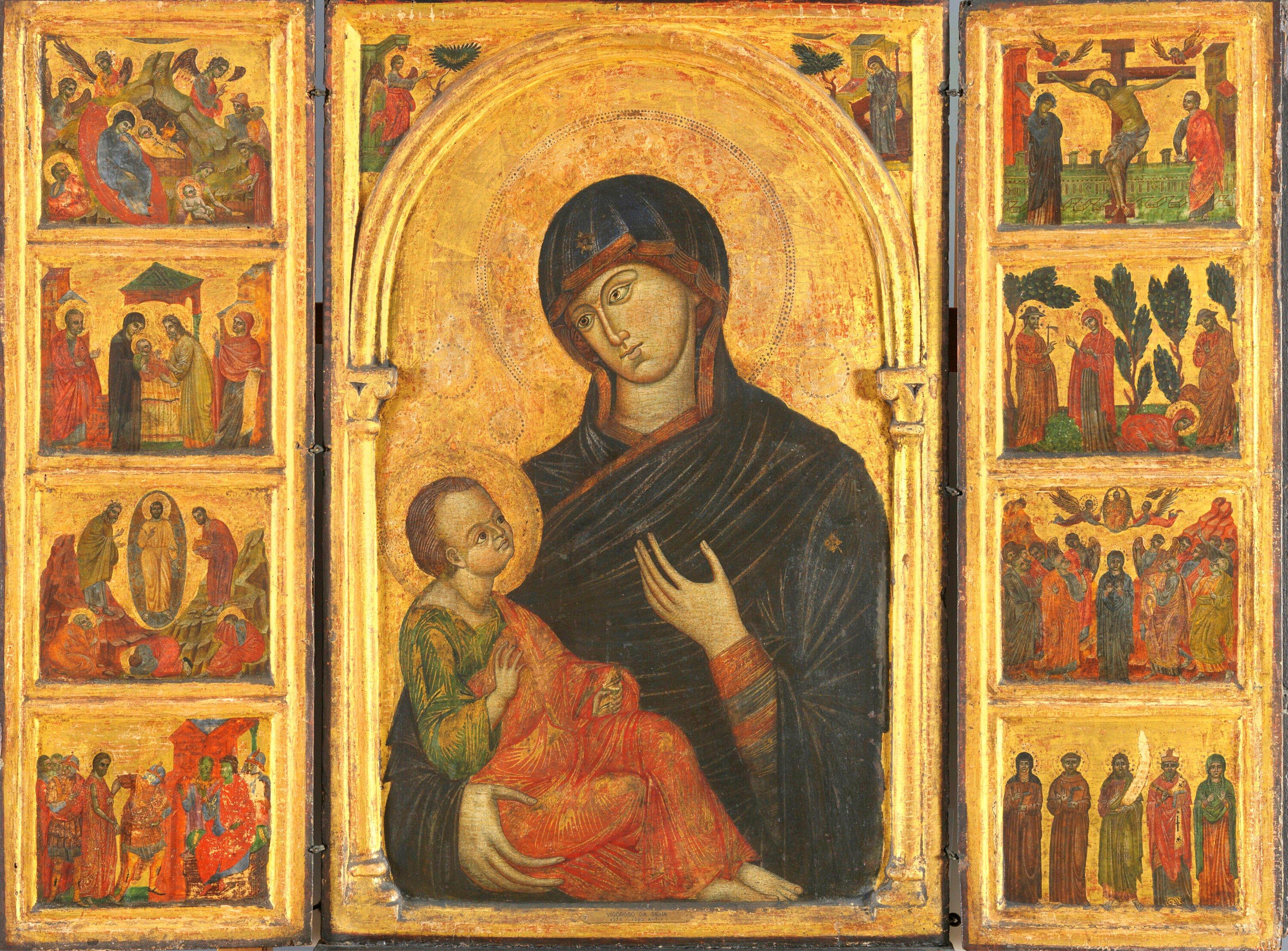 Nossa Senhora com o Menino Jesus, algumas passagens do evangelho e alguns santos