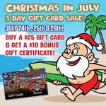 FINAL DAY! Don't miss out on our HUGE Christmas in July Gift Card Sale! Buy a $25 Gift Card & get a $10 Bonus Gift Certificate July 24th - July 26th ONLY! Visit your nearest DJ's Dugout location TODAY for this great deal! 🎅 🌴