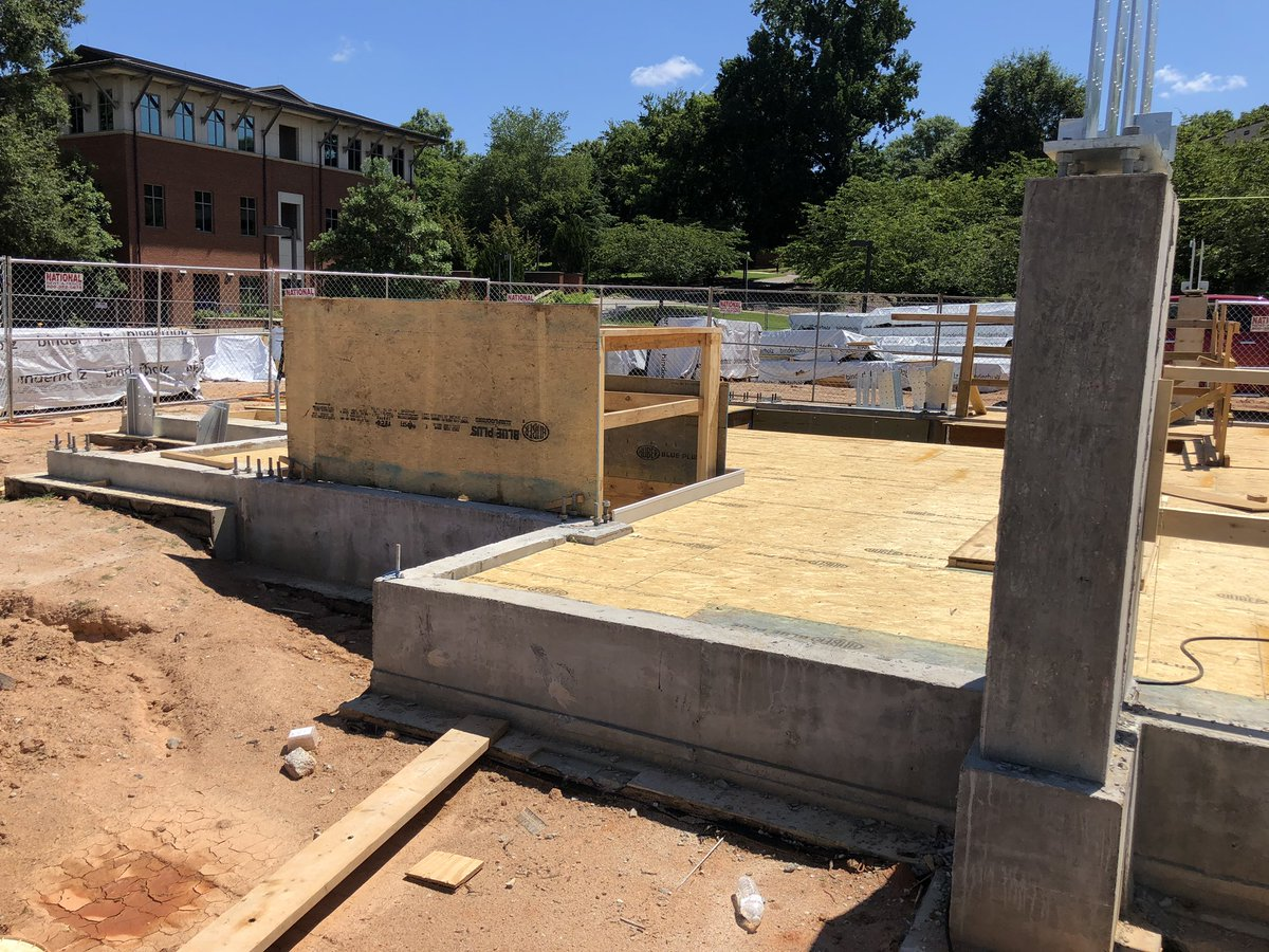 #CaddenChapel @ClemsonSA continues to progress.  This week we can see where the stairway and elevator will go.  @HuberWood OSB blue is being used as a subfloor and on Monday concrete topping will be poured. pic.twitter.com/OErF9UfPHD