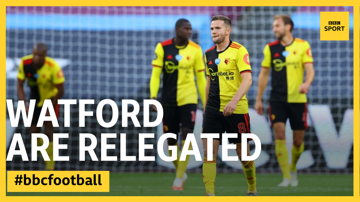 It's all over.  Watford's 3-2  defeat at Arsenal and results elsewhere mean they are relegated.  REACTION 👉 https://t.co/bzj5e7JfdG #bbcfootball #ARSWAT https://t.co/bGG8iOqxnb