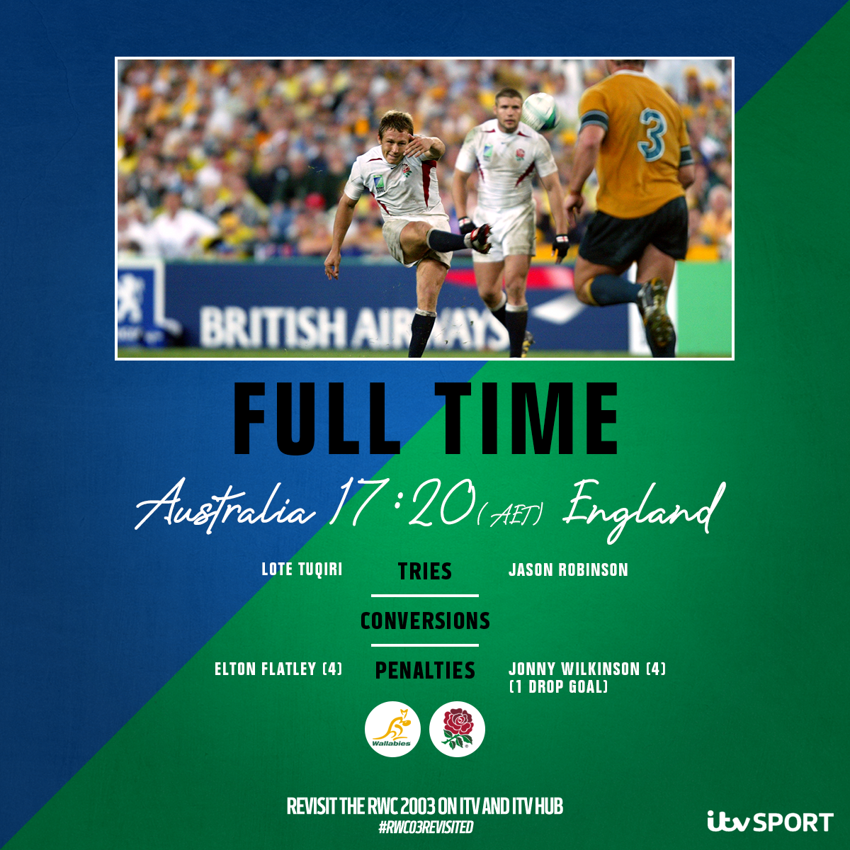 FULL TIME @EnglandRugby have won the 2003 Rugby World Cup! 🏆 A night (morning) that will never be forgotten 🏴 Watch NOW 👇 📱 bit.ly/32Hjphk 📺 ITV4 #RWC03Revisited #ITVRugby