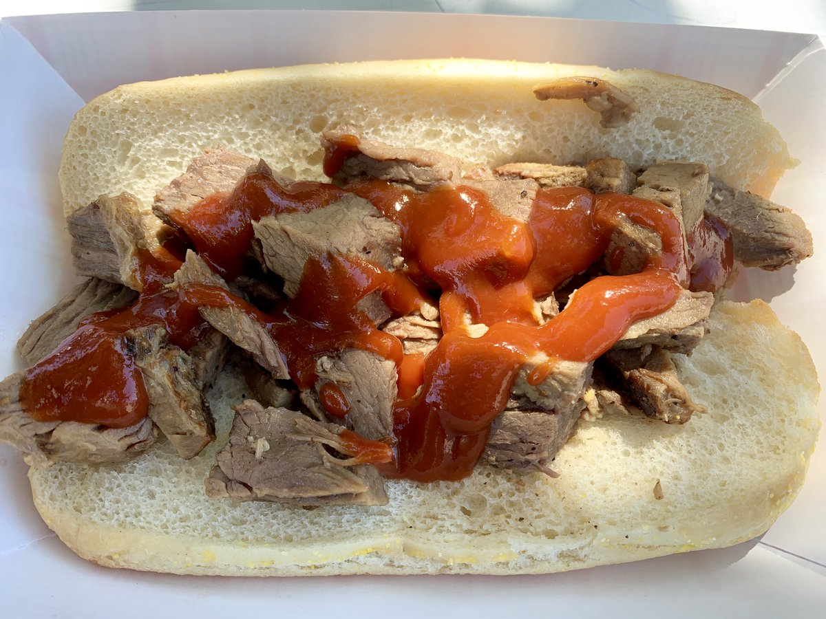 Fathers Day lunch, 2019: a simple but delicious tri-tip sandwich with BBQ sauce at a @ModestoNuts game on Day 6 of our big Cali baseball trip. mappingthepath.com/day-6-modesto-…