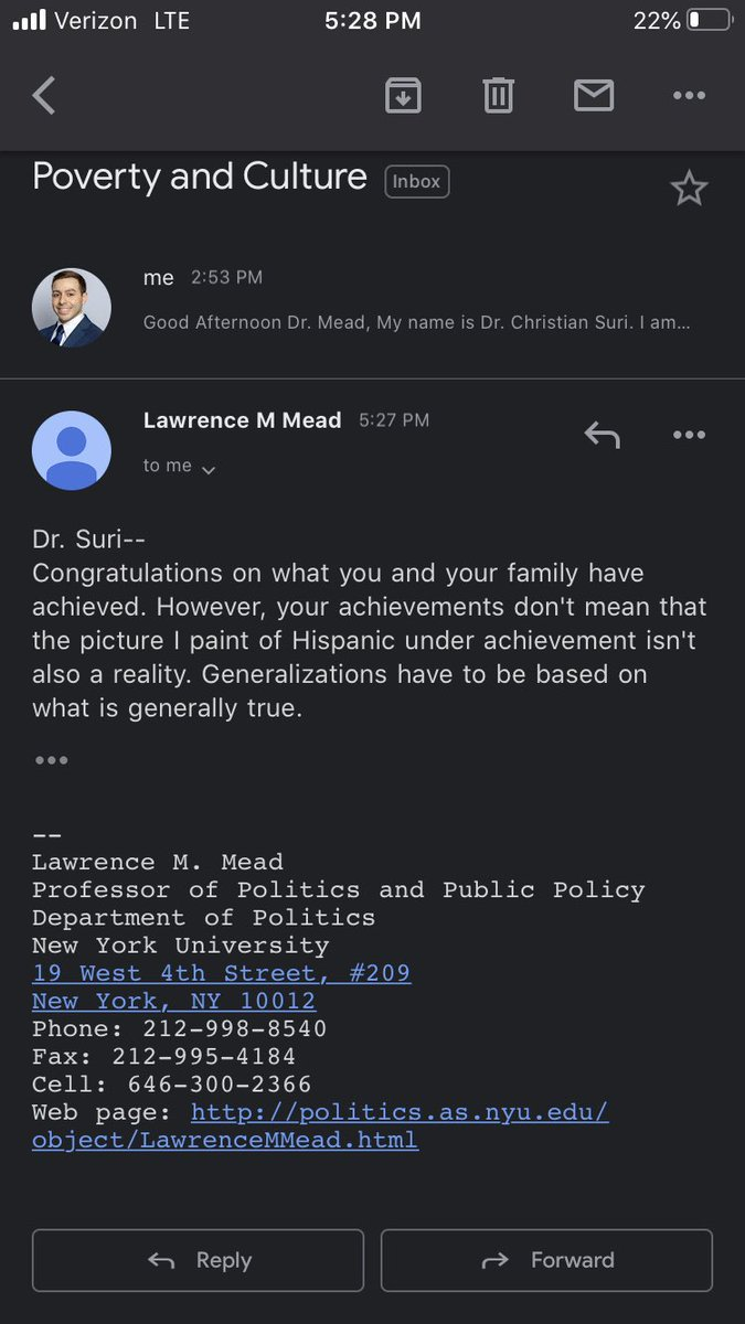 """Today, I emailed Lawrence Mead (author of """"Poverty and Culture"""") to address the highly racially biased comments he made. I told him my family story. This is the response I got."""