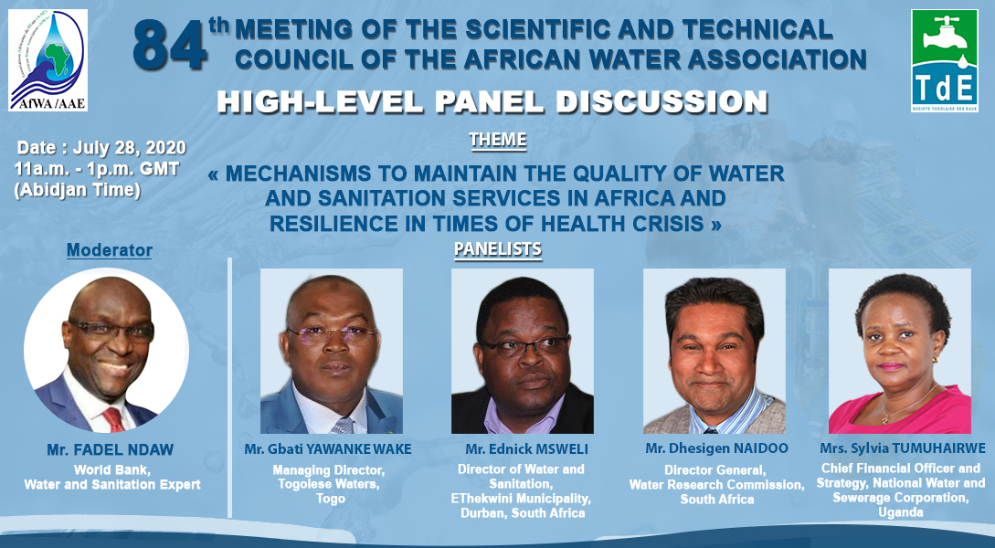 We are pleased to confirm that the Scientific and Technical Council of the African Water Association will be held from 27 to 29 July, 2020 by videoconference. Registration link :  https://t.co/tNIcL8cOHj https://t.co/dwYpeCCsdv