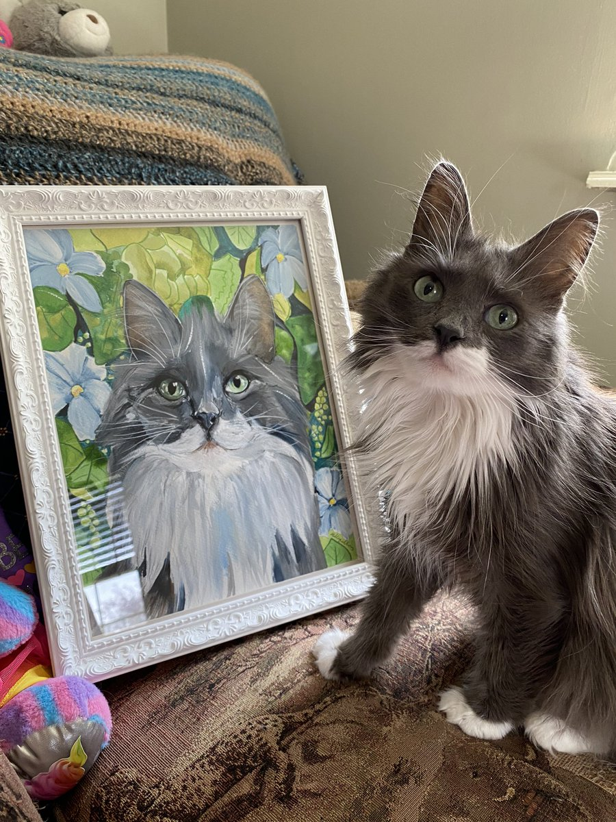OMC here is somethin happy during all dis sadness, we just got my beautiful water color portrait, made by Holly @projectlumino, back today from the custom framers so now it's time for da big reveal!! Oh I love it thank you Holly, doesn't it look just like me guys!?😻💗 https://t.co/8hfp5f0XVa