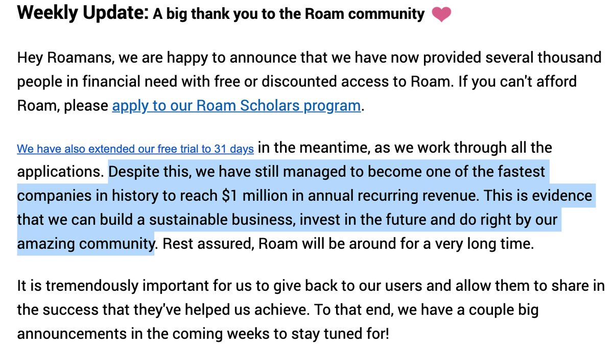 Roam Research $1m ARR