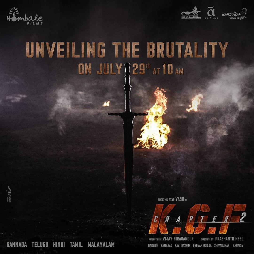 'Unveiling The Brutality' On July 29th at 10 AM.  #KGFChapter2  @hombalefilms @VKiragandur @TheNameIsYash @prashanth_neel @duttsanjay @SrinidhiShetty7 @TandonRaveena @bhuvangowda84 @BasrurRavi @Karthik1423 @excelmovies @AAFilmsIndia @FarOutAkhtar @ritesh_sid @VaaraahiCC https://t.co/L5R3xPRjpt