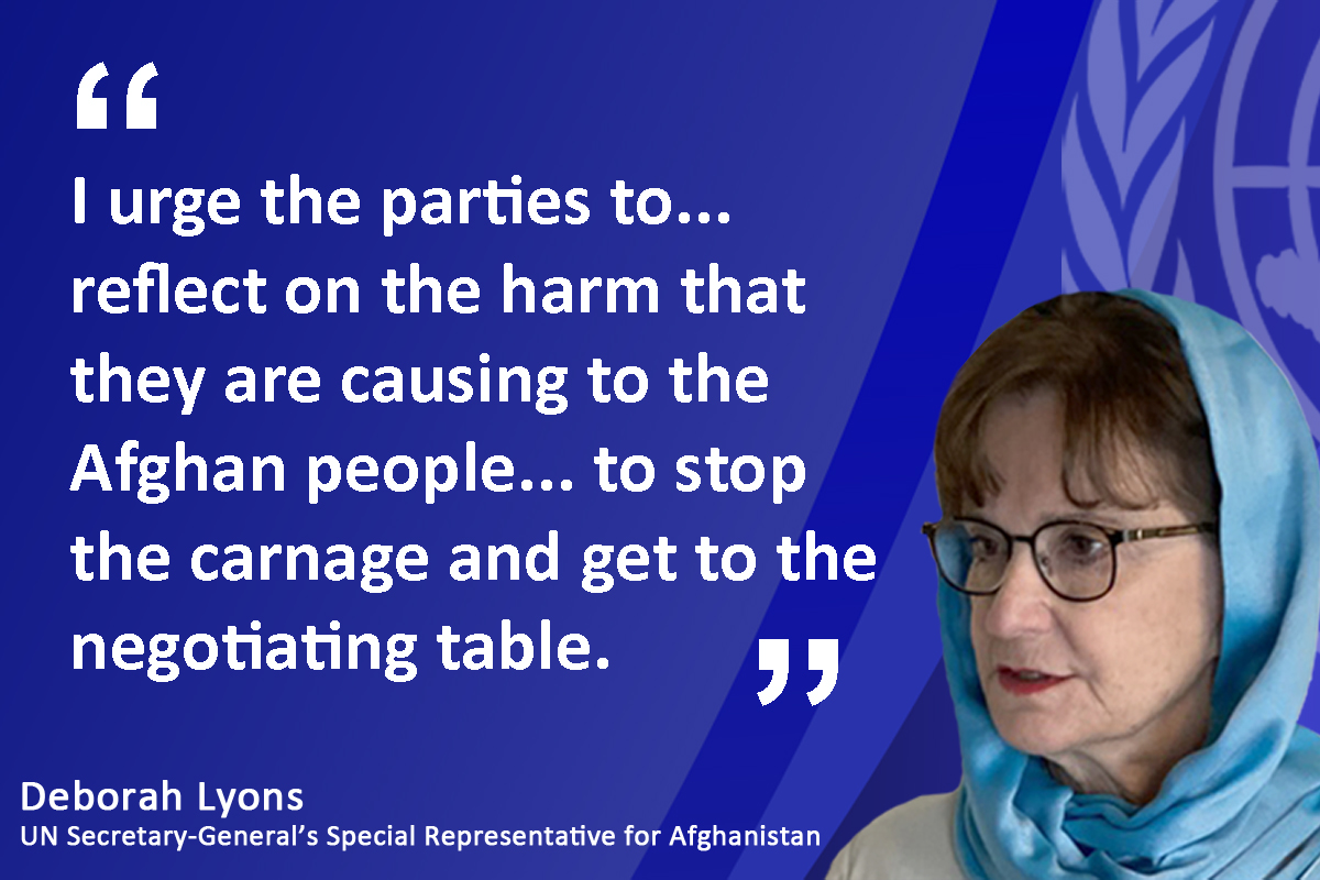 """""""At a time when the #Afghanistan govt & Taliban have a historic opportunity to come together at the negotiating table for peace talks, the tragic reality is that the fighting continues inflicting terrible harm to civilians every day,"""" @DeborahLyonsUN. Read bit.ly/2OY6P51"""