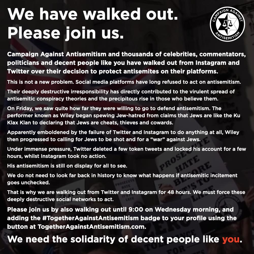 We have walked out. We need the solidarity of decent people like you. #NoSafeSpaceForJewHate To keep up with our updates, sign up at: antisemitism.org/subscribe To show solidarity, join the walkout and add the #TogetherAgainstAntisemitism profile badge at: togetheragainstantisemitism.com/#profile twitter.com/antisemitism/s…