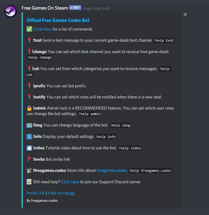 Dicord bot help command