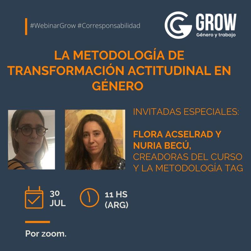 Y el jueves @FloraAcselrad y @NuriaBecu dialogarán sobre la metodología de transformación actitudinal en género.  ¡Sumate! 📝Inscripción: https://t.co/806Ex2SFlW  #WebinarGrow #Corresponsabilidad https://t.co/p11wbYTQ0n