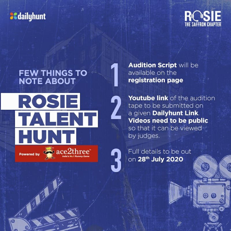 Listing out a few details for the #RosieTalentHunt, the audition scene, registration link and remaining details to be out tomorrow! #StayTuned #1DayToGo #ProminentRole #TalentAurBasTalent