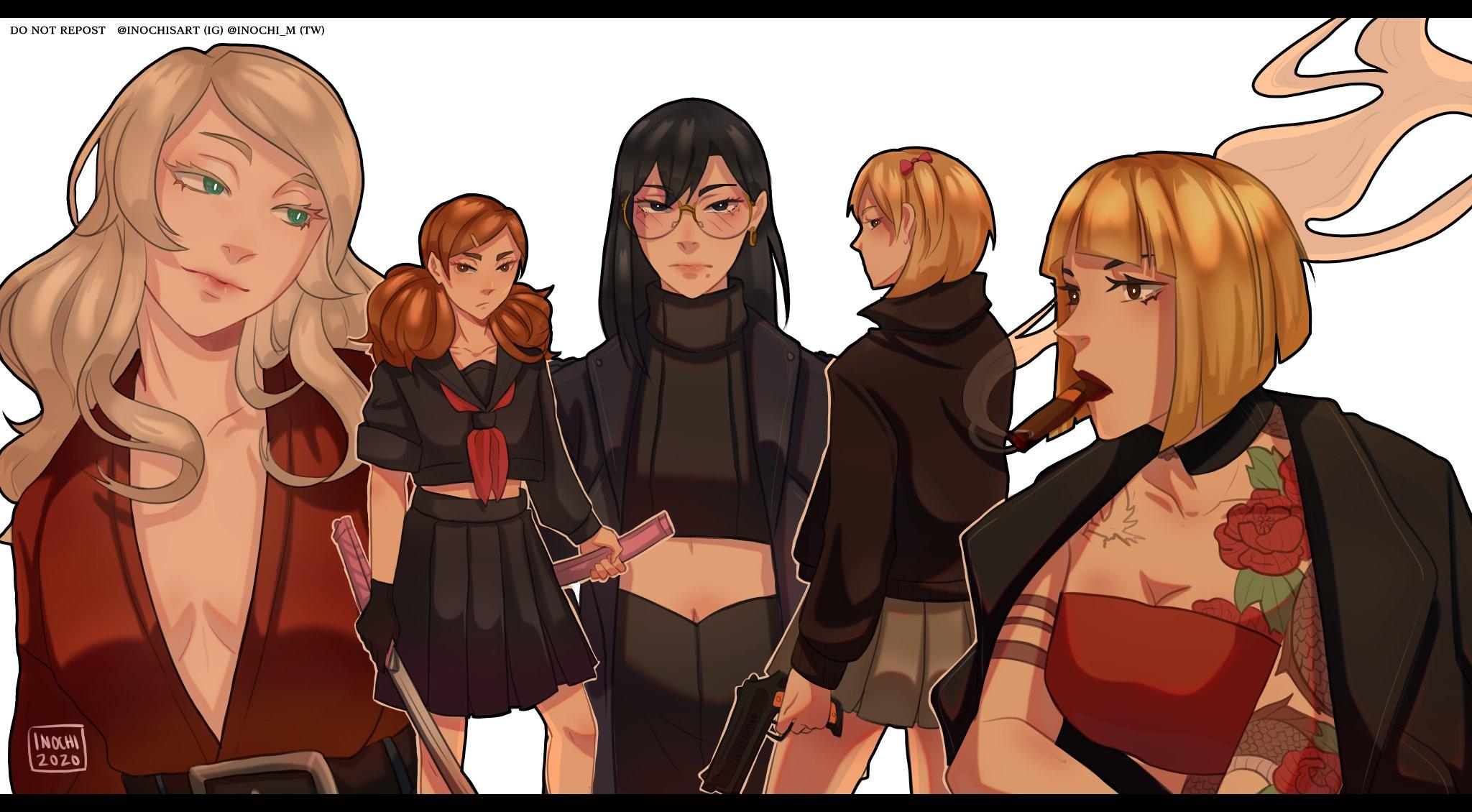 Inochisart On Twitter Simping For Haikyuu Girls In Mafia Au Haikyuufanart Haikyuu Hq ハイキュー Mafiaau