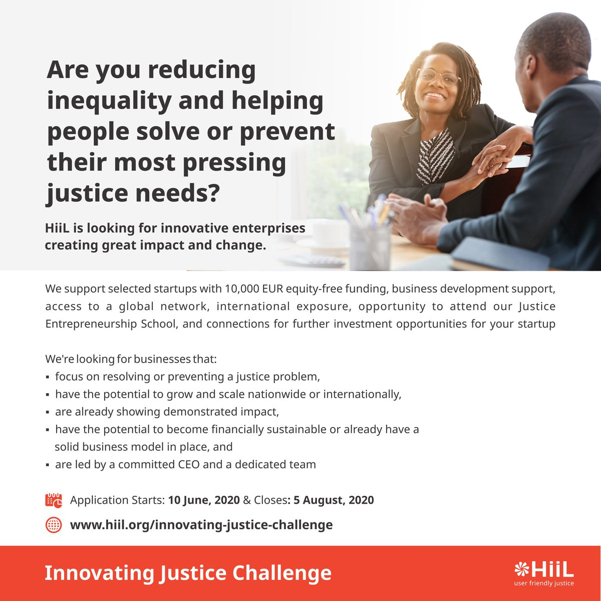 It's a new week.😁  Another opportunity to apply for the HiiL Innovating Justice Challenge.  Apply here: https://t.co/3947YFZEgx  #justinnovate20 #innovatingjusticechallenge2020 #accesstojustice https://t.co/9wKepaNPE2 https://t.co/X3SBlMrDgP