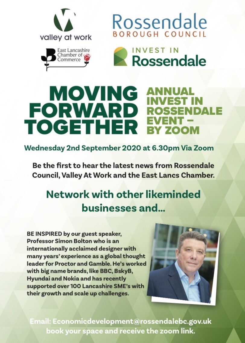 Our joint event with @ValleyatWork and @elancschamber is back.  We hear all about business adaptability from Professor Simon Bolton.  Book your space with us: economicdevelopment@Rossendalebc.gov.uk https://t.co/e0tDrGMmd3