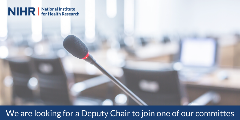 We need a Deputy Chair in the field of #HealthTechnologyAssessment or related applied clinical research, to support the NIHR HTA Funding Committee Chair.  Visit our website for more details on how to apply:https://t.co/ItoOZq4XDC https://t.co/MHOQqy3PI5
