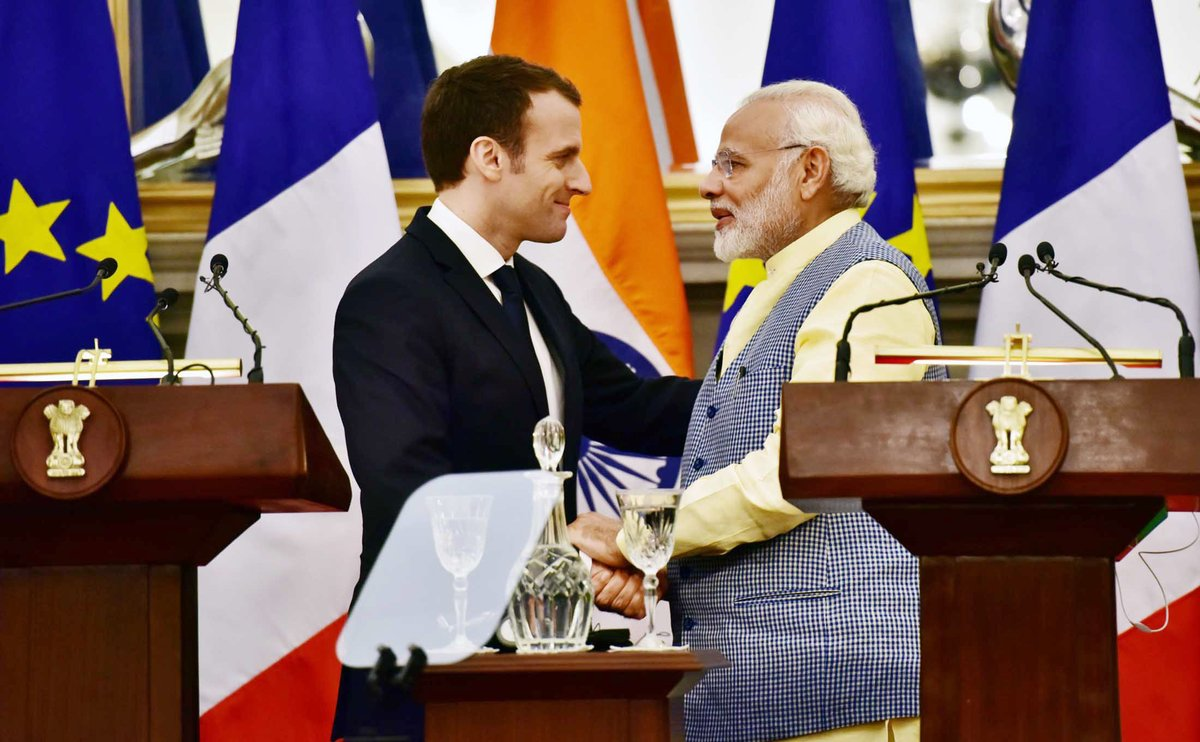 """Prez @EmmanuelMacron wrote to PM @narendramodi to announce an exceptional package to support India's fight against #COVID19 A French Air Force A330 MRTT aircraft equipped with a """"Morpheus"""" kit will land today with high quality ventilators as well as test & serological kits."""
