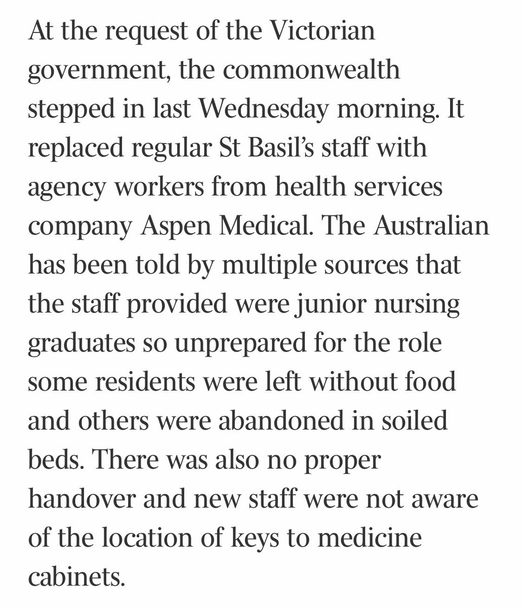 The Morrison government's handling of Victoria's escalating aged-care COVID-19 crisis is creating distress for residents and their families, leaving nursing home providers confused and making carers feel unsafe. @australian theaustralian.com.au/nation/aged-an…