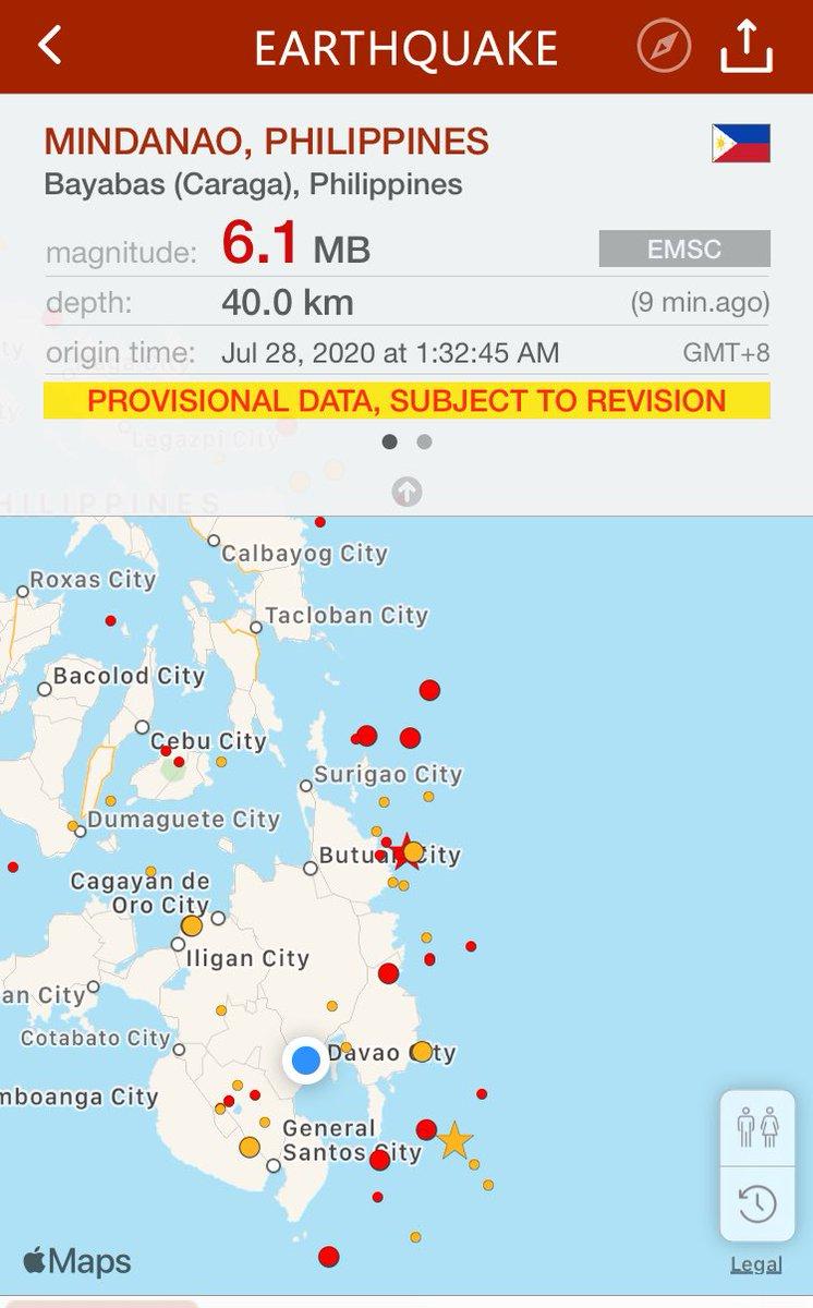 BREAKING: A magnitude 6.1 earthquake rocks Bayabas (Caraga), Philippines. Keep safe, everyone!