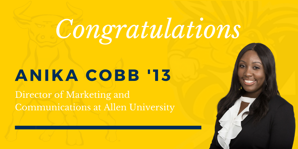 Join us in congratulating our fellow Smithite, Anika Cobb '13, on her new role as the director of marketing and communications at @AllenUniv!   To read more about Anika Cobb '13, visit https://t.co/vCSdA1EI1Q https://t.co/iLOA1UA0F6