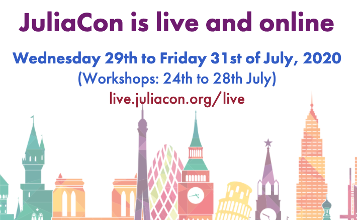 #JuliaCon 2020 is off to a flying start. Over 7,000 viewers for the workshops! Registrations from 115 countries. Top 3 are US, India, and Germany.   The main conference which runs from Jul 29-31. Register at https://t.co/UUxvWXN2HA to explore the frontiers of technical computing! https://t.co/ascTEjA3Ia