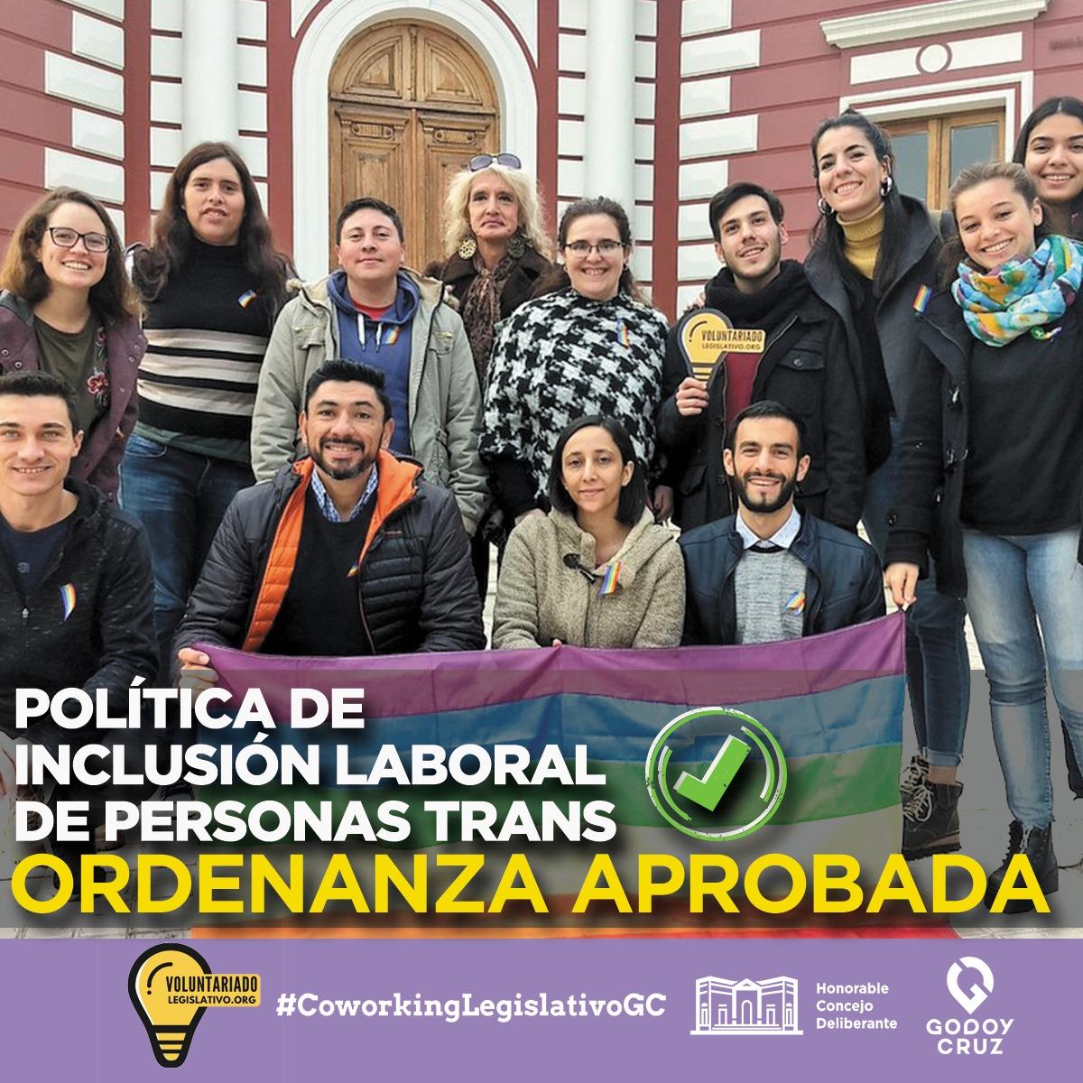 POLÍTICA DE INCLUSIÓN LABORAL DE PERSONAS TRANS APROBADO 🏳️🌈  Una gran noticia para la comunidad LGBTIQ+: aprobamos la Política de Inclusión Laboral de Personas Trans en @MuniGodoyCruz.  ☑️ Igualdad real de oportunidades en el acceso y permanencia en el ámbito público y privado. https://t.co/l9WoHM58X5