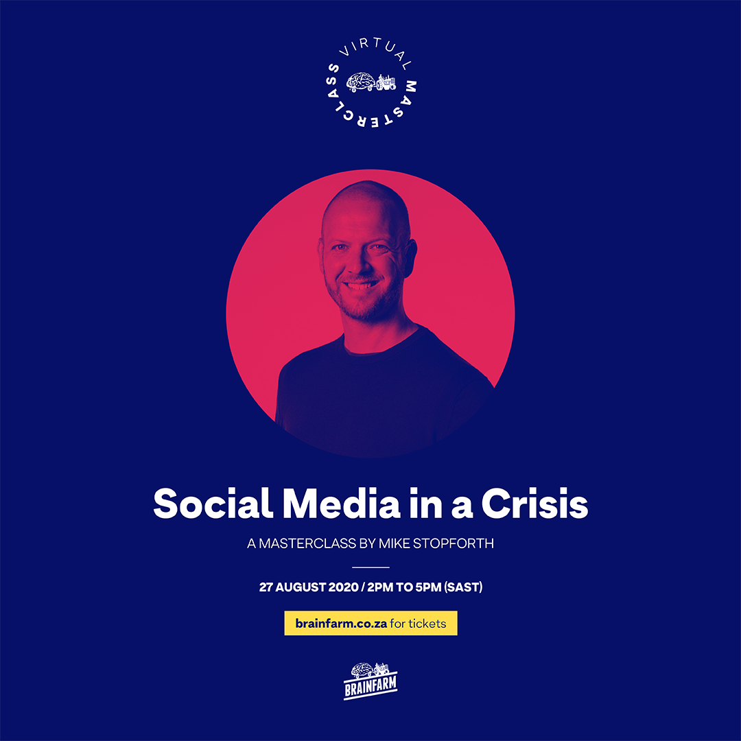 """Really excited to announce these two upcoming #masterclasses I'm hosting with @Brain_Farm.   Class 1: """"Social Media in a Crisis"""" (27 Aug)  Class 2: """"Adapt to Survive - Digital Transformation After the Pandemic"""" (24 Sep)  Find out more here: https://t.co/e8YXaCJEdt https://t.co/v7fQzmyZmg"""