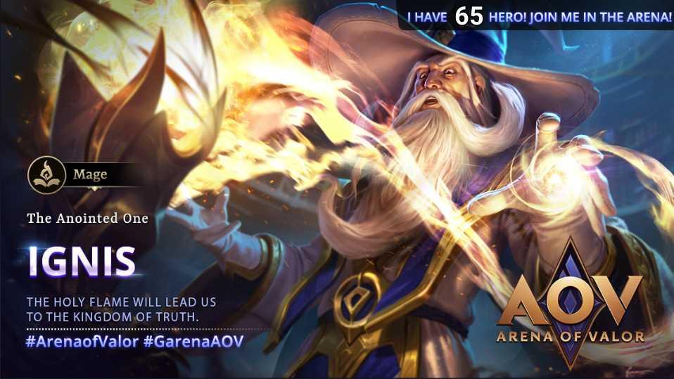 The Anointed One #GarenaAOV #ArenaofValor #NewHero #Ignis #Mage #Harass #MiddleLane #Hero65pic.twitter.com/C6YcEyMvZc