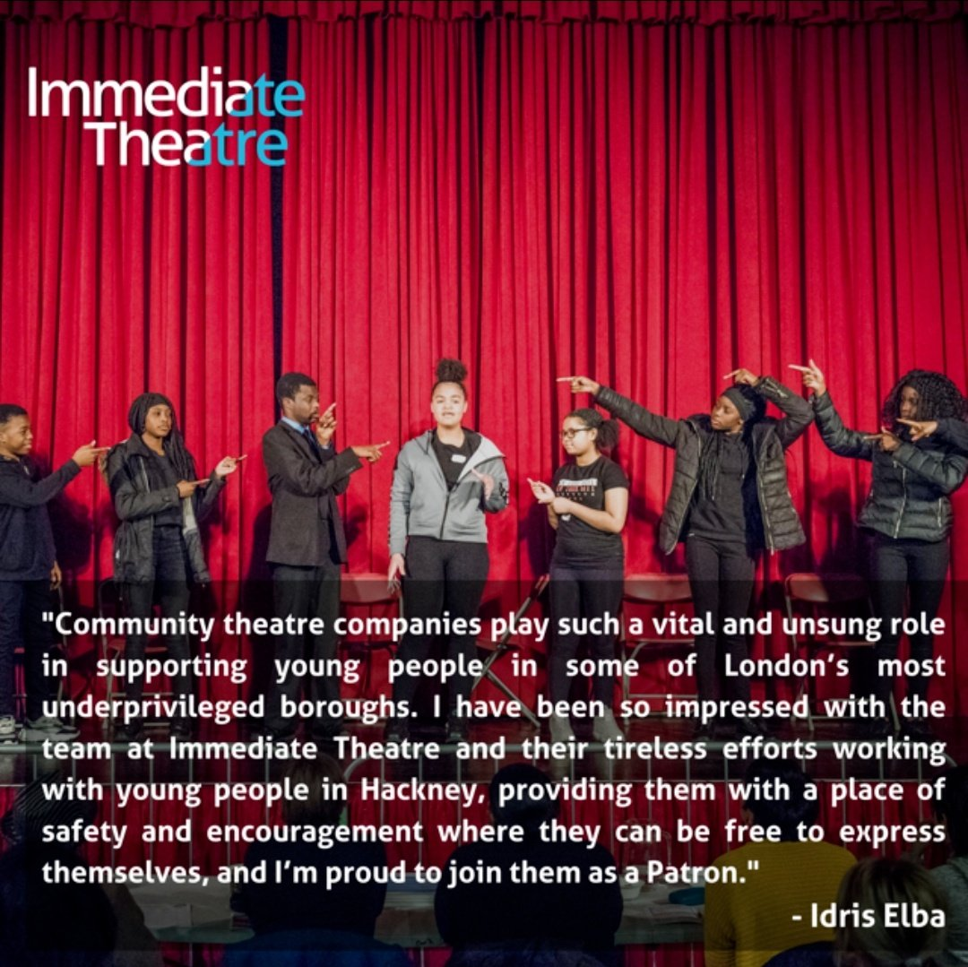 I'm proud to announce today that I will be joining @Immediate_T, a Hackney-based arts charity, as their Patron. Immediate Theatre have been supporting young people and communities since 1996, giving avoice to marginalised & disadvantaged groups through theatre. https://t.co/ZkzHuFEVMk