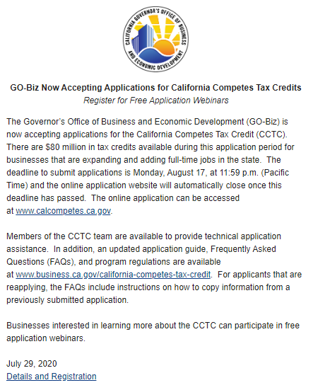 🗣️APPLY NOW  It's official, we're accepting applications for the California Competes Tax Credit and there's $80 million available for businesses that are expanding and adding full-time jobs in #California. First webinar 7/29!  CLICK HERE👉https://t.co/mqWNdp3Hcn https://t.co/1ZCFwM0EYK