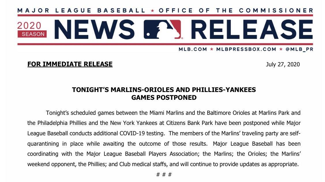 Anuncio de MLB de la suspensión de los dos partidos.