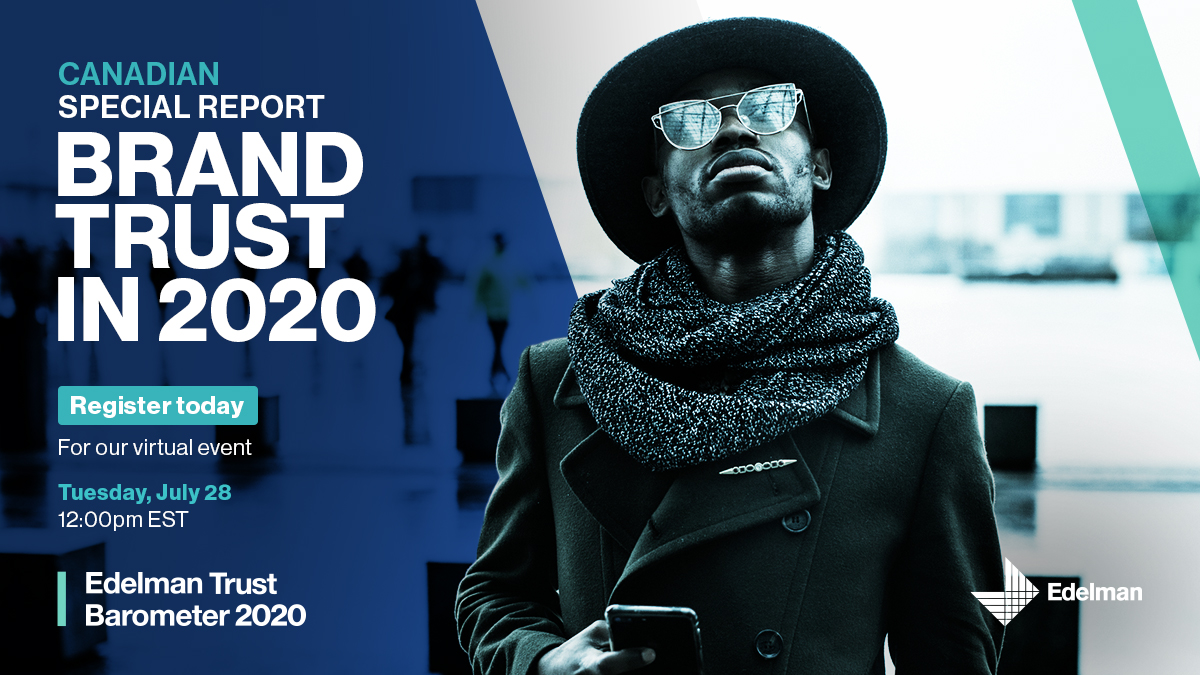 Join us tomorrow for the launch of our 2020 #TrustBarometer special report: Brand Trust in 2020. Hear expert perspectives from Edelman's @lisakimmel, @jeanmean, @andrewlsimon, @wesleyjhall and @pranavchandan. Register here: https://t.co/twBUBh919W https://t.co/duTNHqbO3U