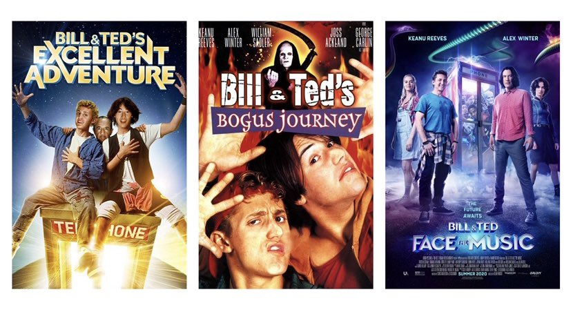 Now THIS is an excellent trio!! Which poster is your favorite? #BillandTed3 #BillAndTedFaceTheMusic #BillandTed #Movies #MovieNews #KeanuReeves #AlexWinter pic.twitter.com/tVKaZ2xtZ0
