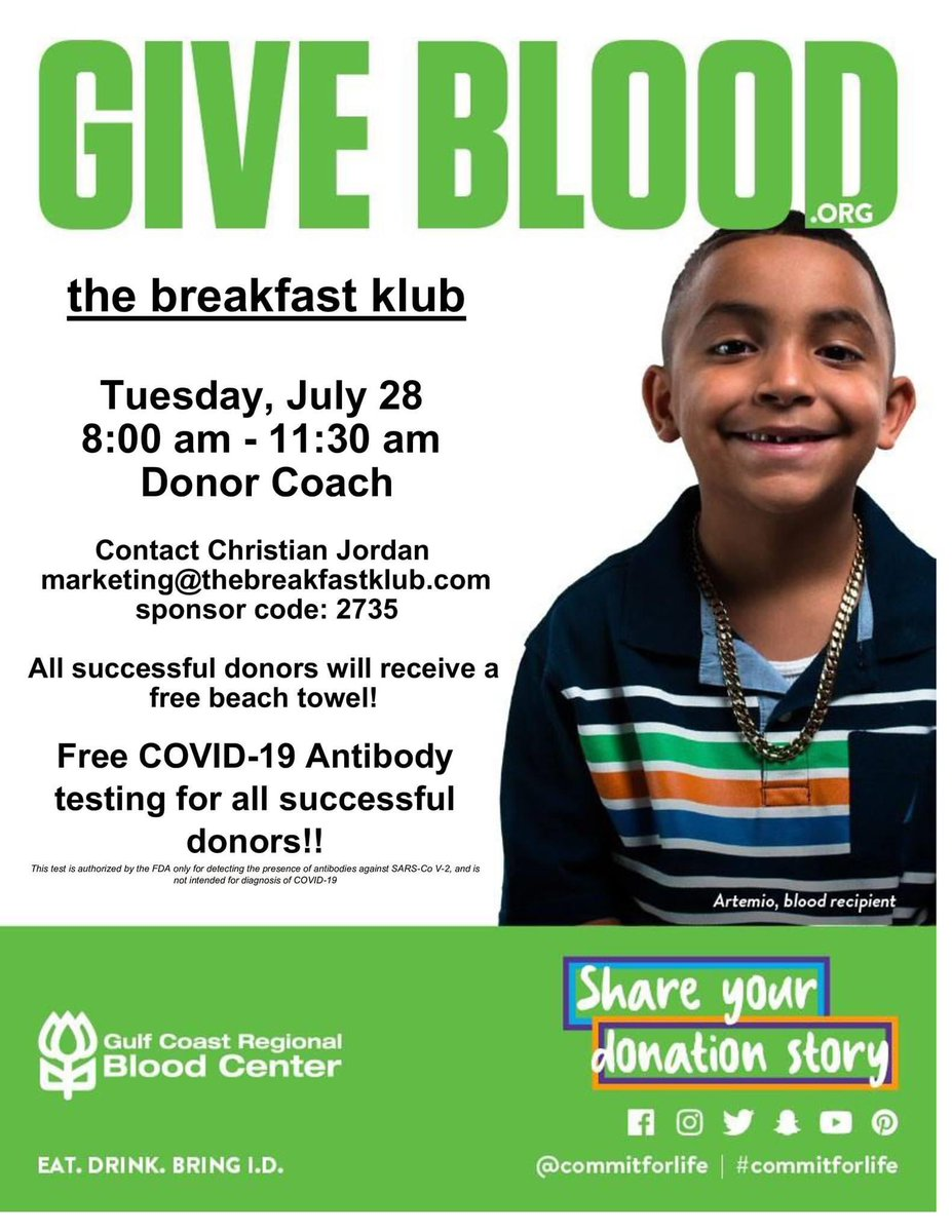 TOMORROW: Blood Drive @ The Breakfast Klub from 8am - 11:30am. It's not too late to sign up!  Reserve your time to make a donation using this link: https://t.co/lNR8dW5MLJ.  Use the Sponsor Code: 2735 #commit4life #gulfcostregionalbloodcenter https://t.co/4StiWo9tFV