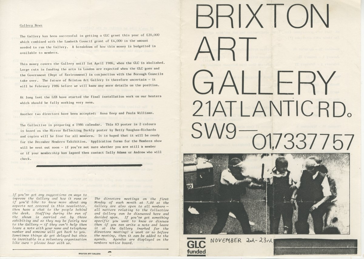 Friday, from the archive, Rita Keegan was a co-founder of the Black Artists Collective, as artists they ran Brixton Art Gallery, founded in 1983.  Oct 1983, Brixton Art Gallery held the first ever UK open exhibition specifically selected on the basis of the artists being queer. https://t.co/9DHJ3z8zDf