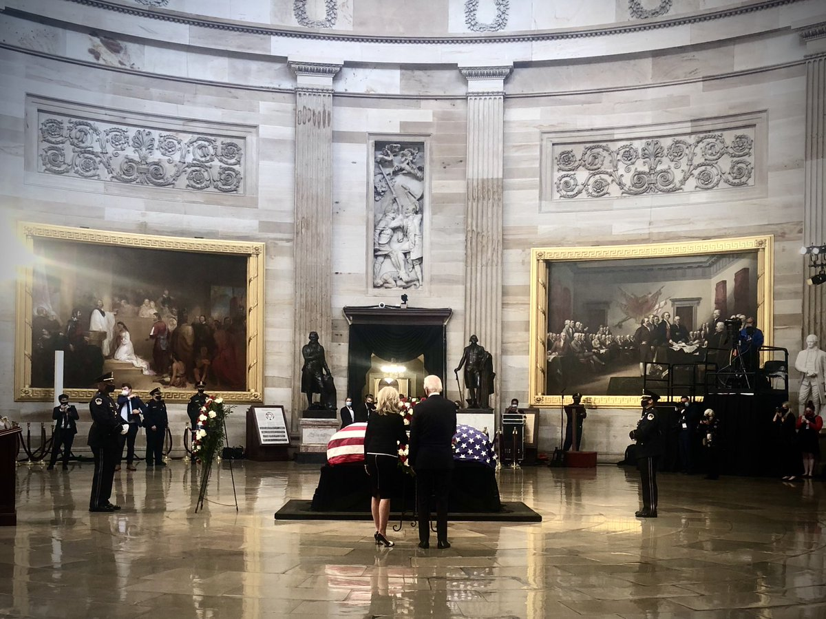 VP Joe Biden and Jill Biden in the Rotunda to pay respects to Rep. Lewis
