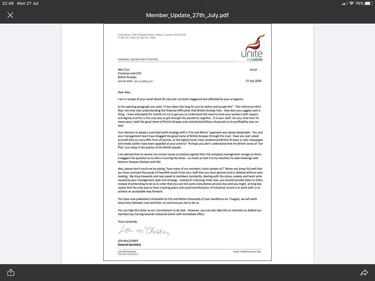 General Secretary letter