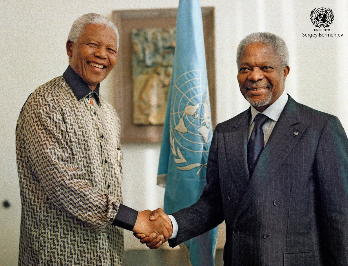 """United Nations Photo on Twitter: """"Today is #NelsonMandelaDay. """"The heroes  are those who make peace and build"""" - #NelsonMandela Here Secretary-General  Kofi Annan meets with Nelson Mandela in 2001. @UN Secretary-General António"""