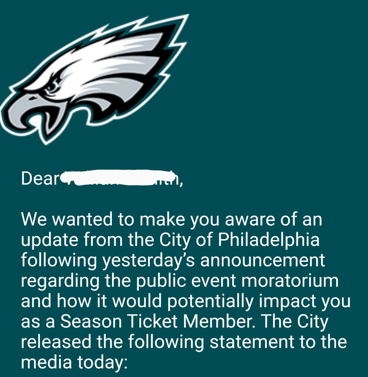There's still hope for Eagles fans to be able to attend games this season!  #FlyEaglesFly <br>http://pic.twitter.com/iAR6oMmtAe