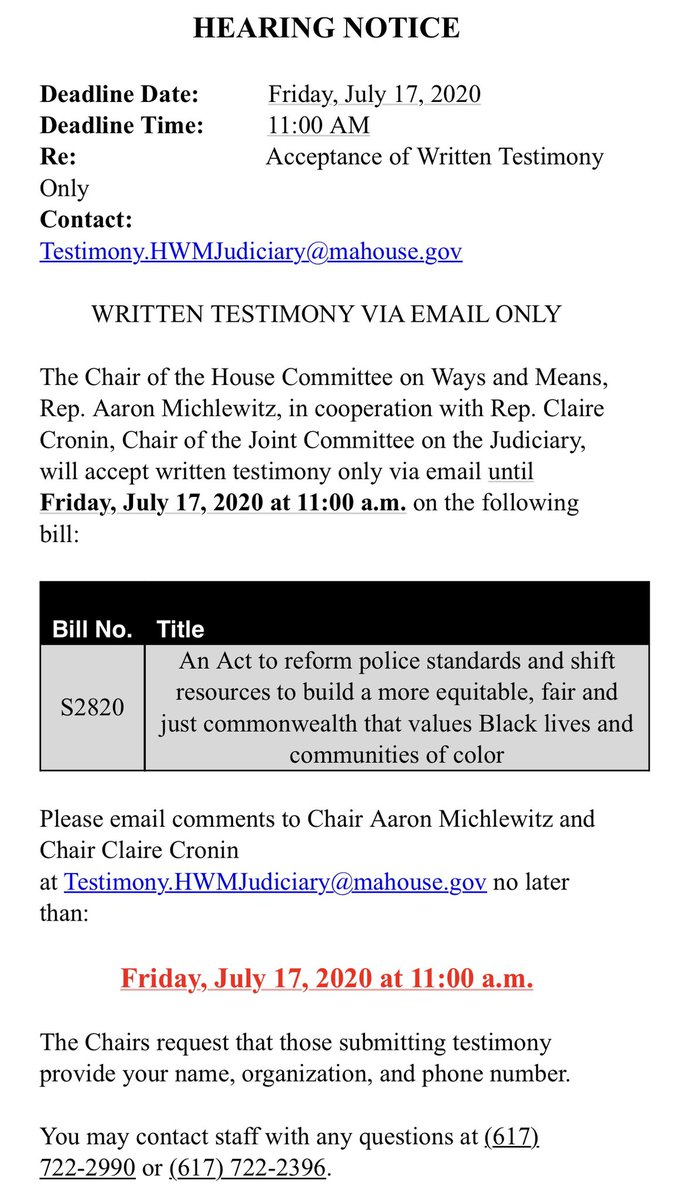 Mass. House opens comment window to take email testimony  on Senate policing reform bill. #mapoli<br>http://pic.twitter.com/zHnCz43qMM