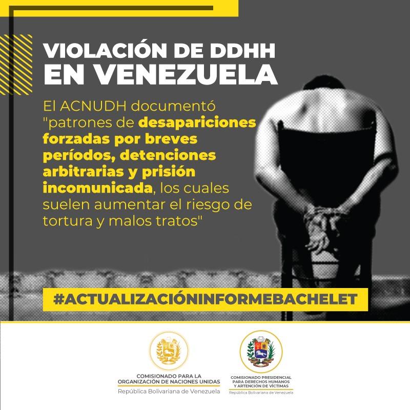 La #ActualizaciónInformeBachelet evidencia las violaciones graves cometidas por las fuerzas de seguridad, así como asesinatos y violaciones de los DDHH; destaca el uso continuo del sistema de justicia militar contra civiles. #VenezuelaSinDerechos. #15May https://t.co/j5ReRgiKya