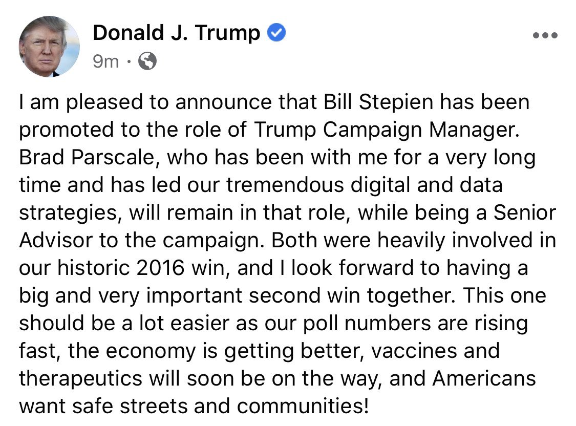 NEW: Presideng Trump just announced on Facebook that Brad Parscale is OUT as Trump's campaign manager. Bill Stepien is the new campaign manager. https://t.co/E7VkVfkarJ