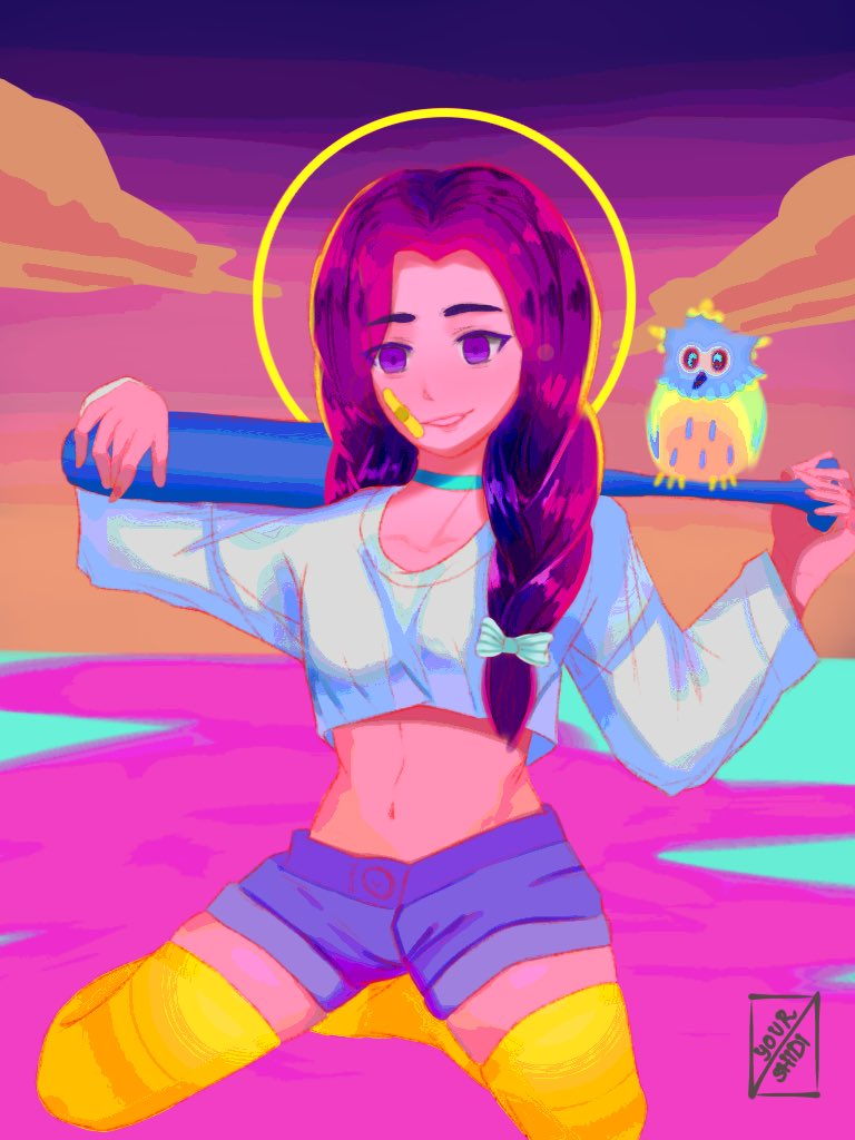 Did @lliyajn's #dtiys. My eyes burned the whole time. Too neon-y. But I wanted to try this style so I had to change the clothing color and all. Might've broken a rule there or sth. The owl looks wacky kek.    #iyajsdtiys #artph #ArtistOnTwitter #popart https://t.co/Pob7jUEiFc