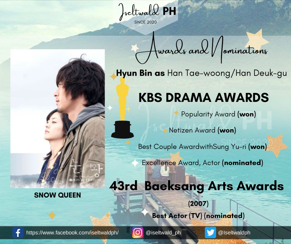 """[AWARDS]  Did you know that in the TV Series """"Snow Queen"""", Hyun Bin won multiple awards? To know more check this link https://t.co/OXrVLpvG8G  #HYUNBIN #FILMS #TVSeries #Awards #Iseltwald_PH #Iseltwaldph https://t.co/opyPnaTYzY"""