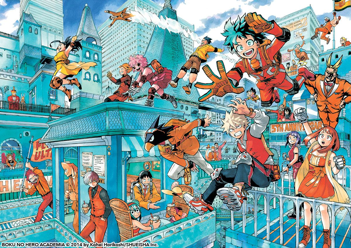 A fun My Hero Academia picture in between chapters.