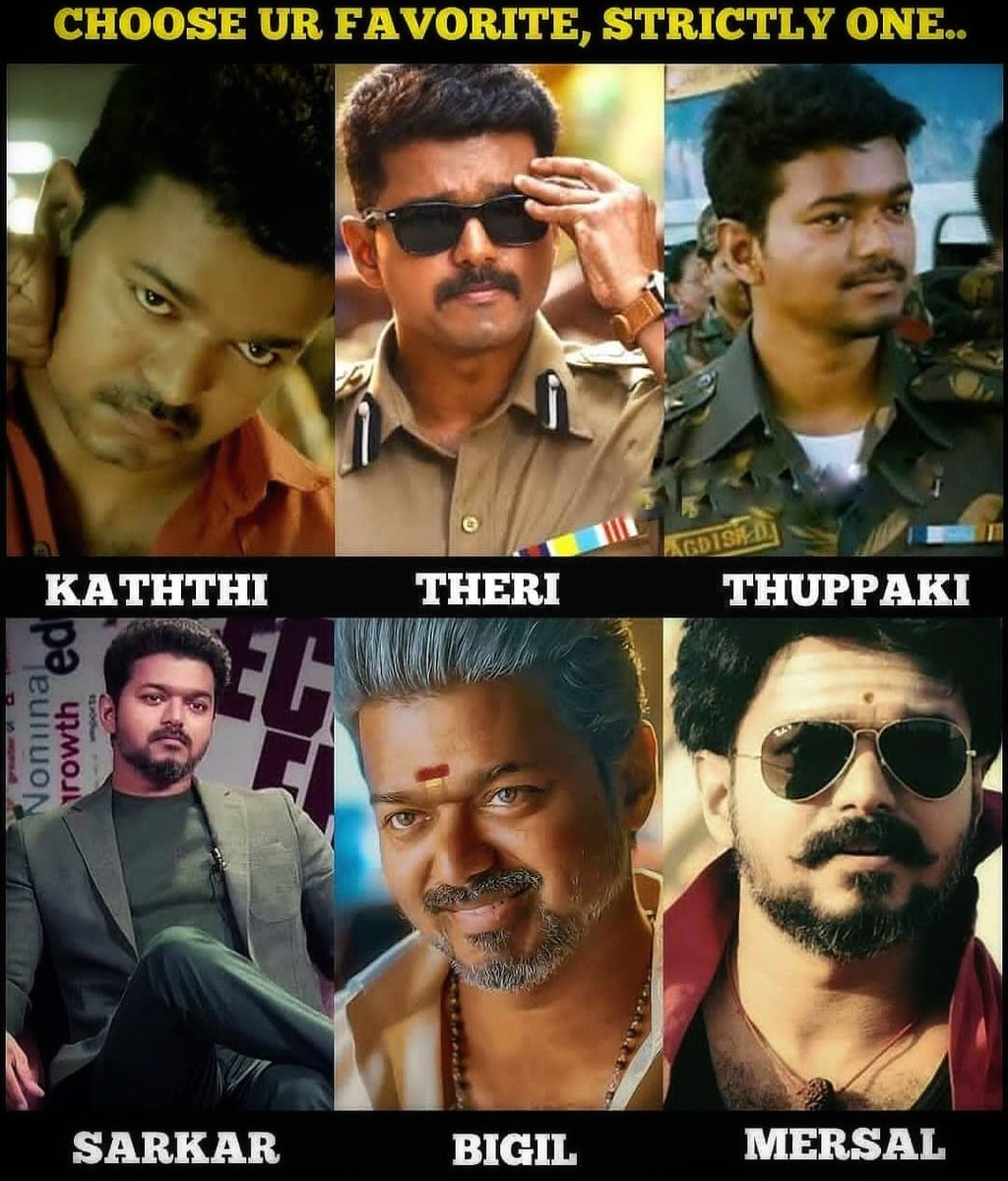 Choose your favourite One, But Strictly One ! #Master @actorvijay <br>http://pic.twitter.com/a0EDvPJixp