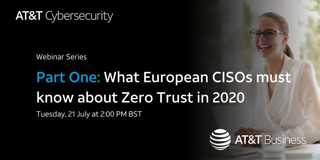 Looking forward to speaking along with John @Kindervag in an upcoming 2-part series on #zerotrust, exploring what it is and why it should be on top of every CISOs mind. There's still time to register for Part 1.  #attemployee  #CyberSecurity    https://t.co/TXE08onVCv https://t.co/d0dit57SK6